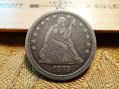 1875 US Seated Liberty Silver Quarter 25C - No Reserve - Free S&H USA