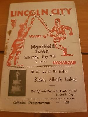 1949 Lincoln City Programmes: Mansfield Town