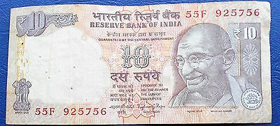 ND 1996-2002 Bank of India 10 Rupees Banknote P#89 Gandhi Elephant Tiger #  MP 3