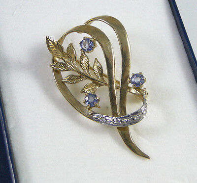 BEAUTIFUL 9ct.Gold Brooch-Diamonds & Sapphires-fully h/m 1993-Boxed-MOTHERS DAY!