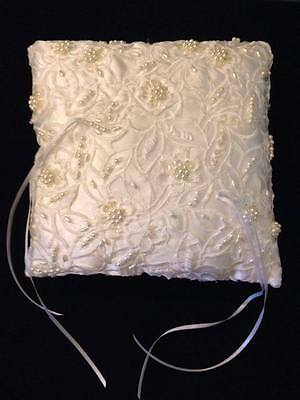 Wedding White Ring Bearers Pillow With Pearls