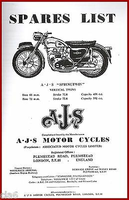 AJS Springtwin 500 600 Model 20 30 Spare Parts List Book 1956 *NEW