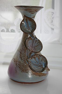 Unusual Studio Art Pottery Vase With Sculptural Lily Design Valentines / Mothers
