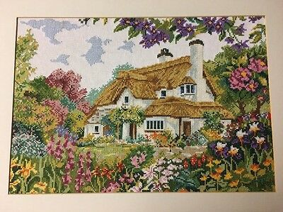 Large Completed Cross Stitch Old English Thatched Country Cottage Garden