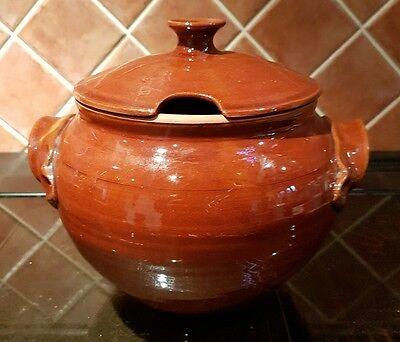 """Vintage Stoneware Lidded Brown Glazed Cooking Pot 6"""" x 6"""" approx"""
