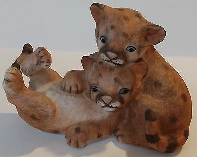 1993 Homco Masterpiece Porcelain Curious Cougars Figurine - Malaysia