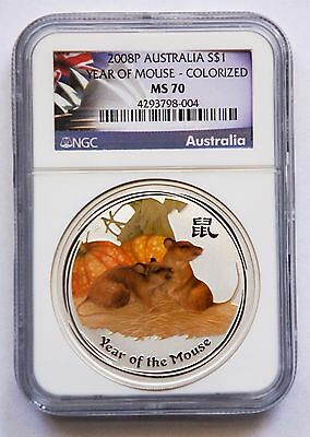 2008-P AUSTRALIA  YEAR OF MOUSE-COLORIZED $1 1oz  NGC MS70