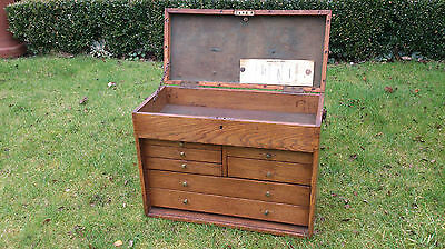 vintage engineers drawers tool watchmakers wooden filing cabinet minature small