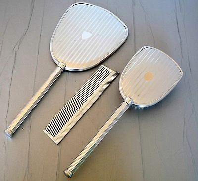 Dressing Table Hairbrush Mirror and Comb Set - Silver Tone Metal