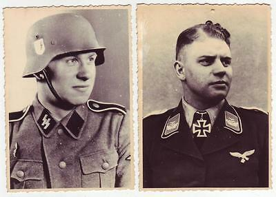 Lot 2 German Wwii Archive Photos: Men In Uniforms, Personalities .