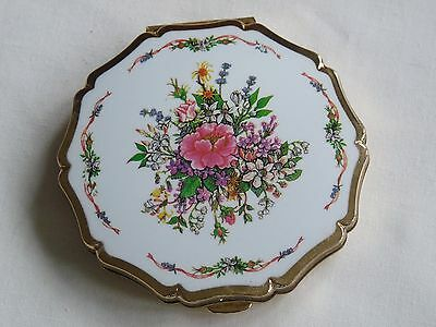 Vintage Stratton Floral Powder Compact - Gold Tone- Beautiful