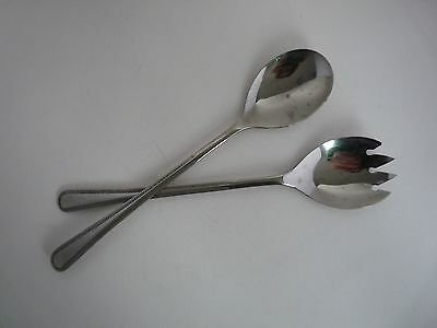 Vintage Silver Plate Salad Servers - Spoons - Cutlery Silver Plate