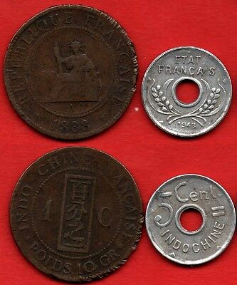 FRENCH INDOCHINA LOT : 1 Cent 1888 + 5 centimes 1943 France Colonial KM# 1 + 27