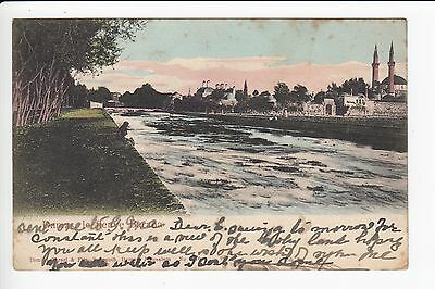 Damascus Damas Le Fleuve Barada & Mosque Undivided Postcard Posted 1906