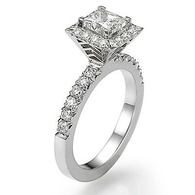 Solitaire 18K White Gold Princess Enhanced Diamond Engagement Ring 1.35 CT F/SI