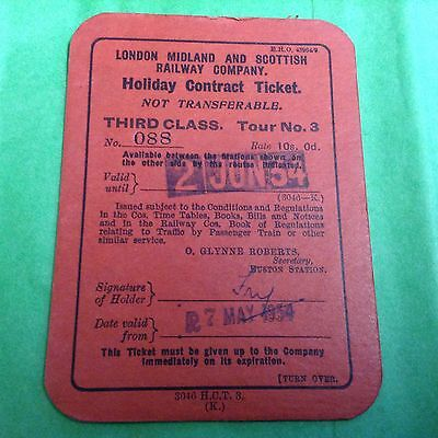 London Midland And Scottish Railway Company HOLIDAY CONTRACT TICKET 1934.