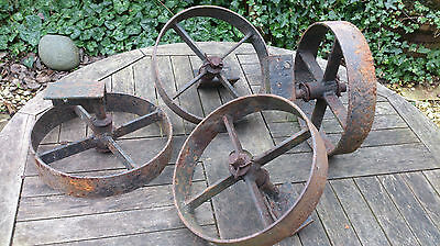 4 x old vintage metal cast iron wheels for stationary engine trolley