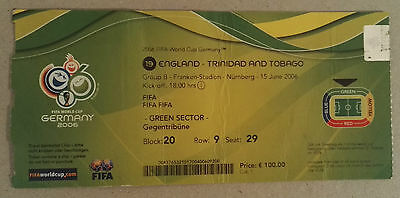 2006 WORLD CUP FINALS GERMANY - MATCH TICKET - GAME 19. ENGLAND vs. TRINIDAD