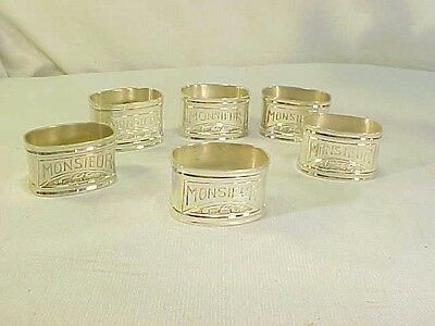 6 Silver Plate Napkin Rings Engraved with Monsieur
