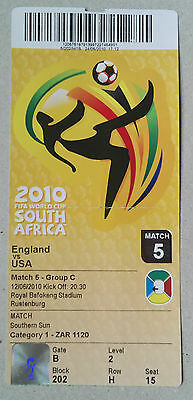 2010 WORLD CUP FINALS GERMANY - TICKET - GAME 5. ENGLAND vs. U.S.A. 12th JUNE