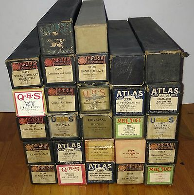 Lot of 27 x VINTAGE PIANO PLAYER ROLLS
