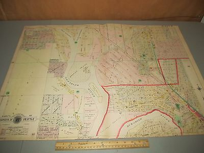 1908 Baist's Real Estate Atlas of Seattle Large Survey Plate 29 Rare Map