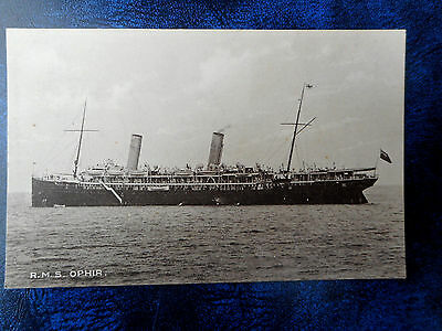 R.M.S. Ophir, Orient Line Shipping Postcard 1915. Royal mail Steamship.