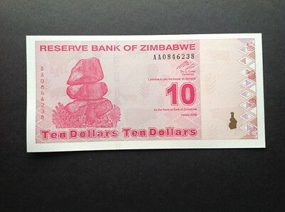 Zimbabwe uncirculated banknote for 10 Dollars.