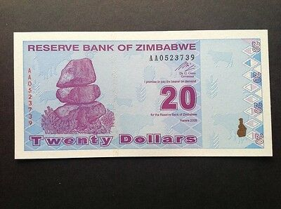 Zimbabwe uncirculated banknote for 20 Dollars.