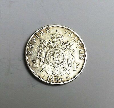 France 1866 Two Francs Very Nice Condition Nice Rare Coin
