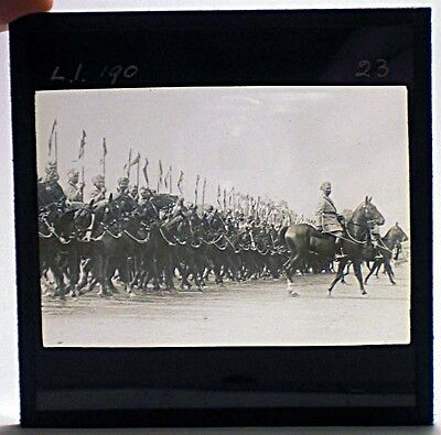 A glass photo slide of  Indian cavalry, part collection c.1900 -30 #23