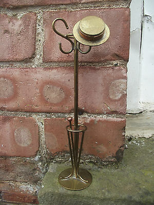vintage ww2 trench art hat stand with cane & straw hat model