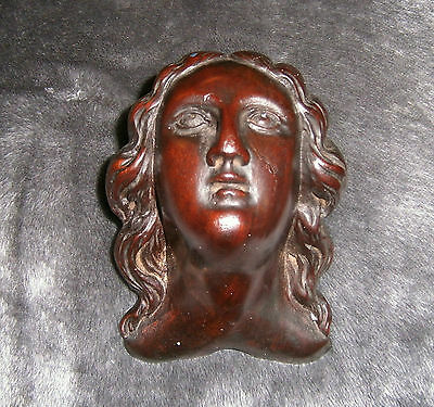 Small Carved Mahogany antique head face pediment furniture carving