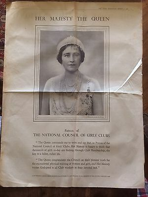 The Times 9 Mar 1938 Her Majesty The Queen Elizabeth Newspaper Clipping 4 Pages