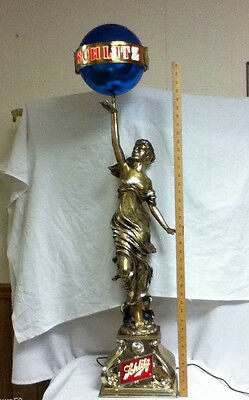 Schlitz beer sign light Colombian princess statue lamp statue globe lighted lady