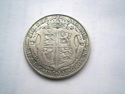 EARLY - GEORGE V- SILVER 1/2 CROWN COIN FROM THE UK DATED-1923 nice