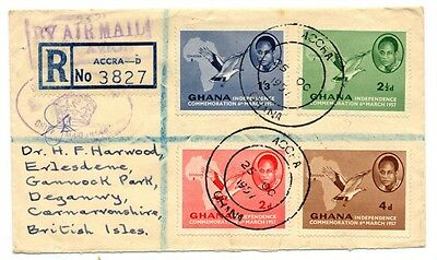 Ghana Cover with complete set of 1967 Independence Commemorative Stamps