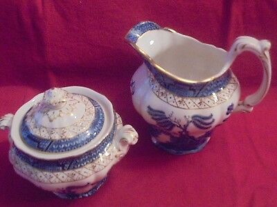 Booths Real Old  Willow large milk jug and covered sugar bowl