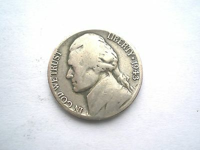 EARLY WW11-PART SILVER- JEFFERSON 5 CENT-COIN FROM THE USA -DATED 1943D-nice