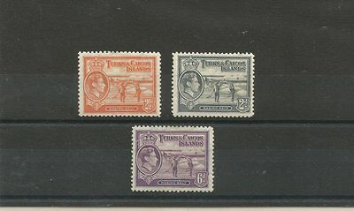 TURKS & CAICOS ISLANDS 1938 M/MINT STAMPS SG198,199a, 201