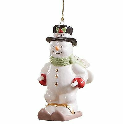 Lenox 2016 Skiing Snowman Annual Ornament 19th in the Series