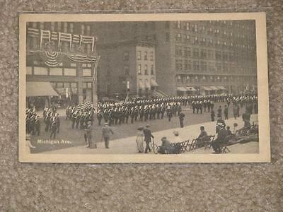 Knights Templar Parade on Michigan Ave, Chicago, Ill, 1910, used vintage card