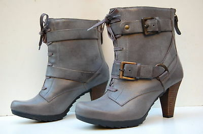 Clarks Softwear Ladies Lyndee Concert Grey Leather Ankle Boots Size 8 Rrp£120