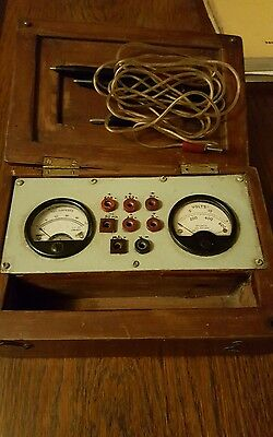 Vintage  Volt And Amp Meter wooden box