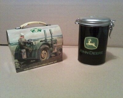 JOHN DEERE Lunch Box Collector Tin W/ a Round Black JOHN DEERE Container