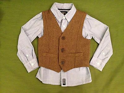 Boys wool blend vest and a long sleeves woven shirt size 5
