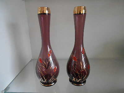 A Pair of Amythyst Glass, Decorative Bohemian-Style Bud Vases.