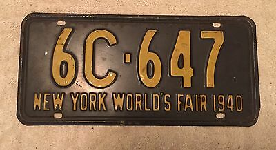 Nice Good Solid 1940  New York Worlds Fair License Plate  Free Shipping