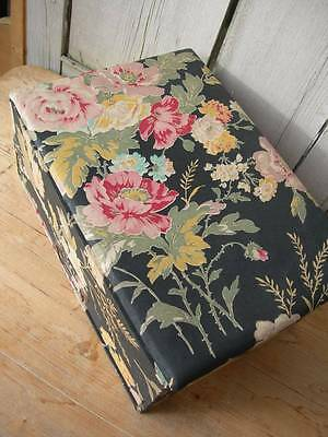 Gorgeous vintage French fabric covered boudoir box - faded florals w. drawer
