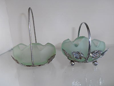 2 Miniature Bagley Tulip Posy Vases in Chromed Metal Baskets.